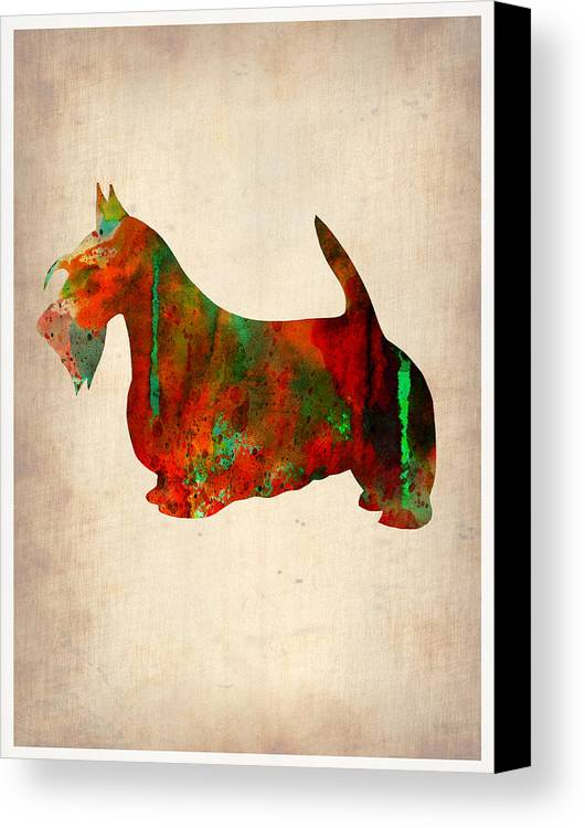 Scottish Terrier Canvas Print featuring the painting Scottish Terrier Watercolor 2 by Naxart Studio