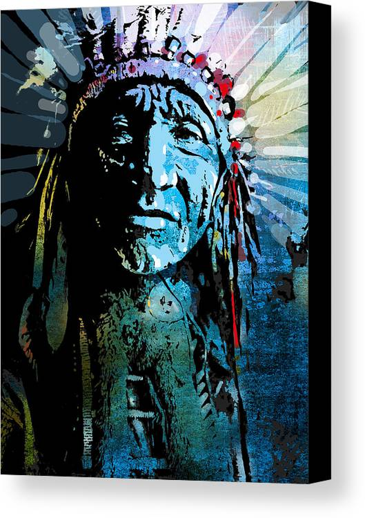 Native American Canvas Print featuring the painting Sioux Chief by Paul Sachtleben
