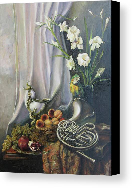 Armenian Canvas Print featuring the painting Still-life With The French Horn by Tigran Ghulyan
