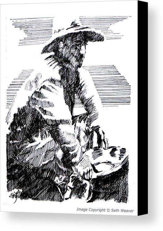 1850's Old West Canvas Print featuring the drawing Striking It Rich by Seth Weaver