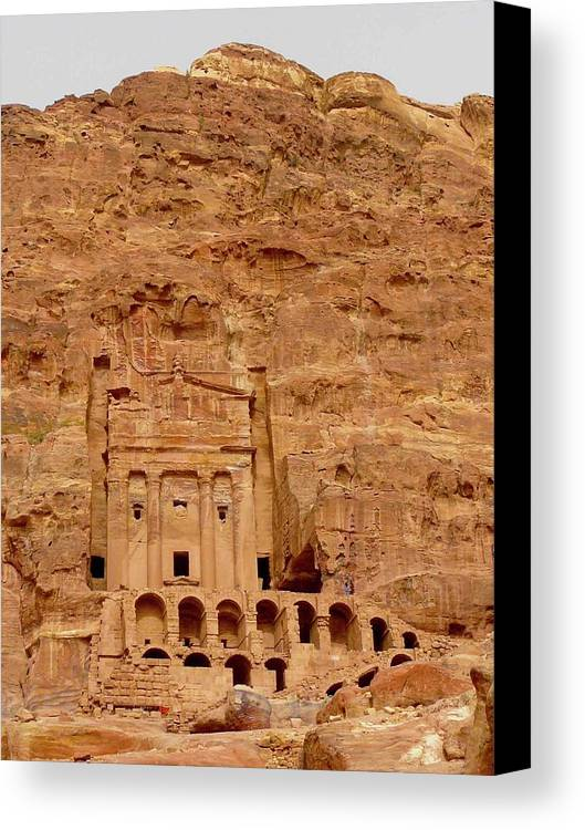 Vertical Canvas Print featuring the photograph Urn Tomb, Petra by Cute Kitten Images
