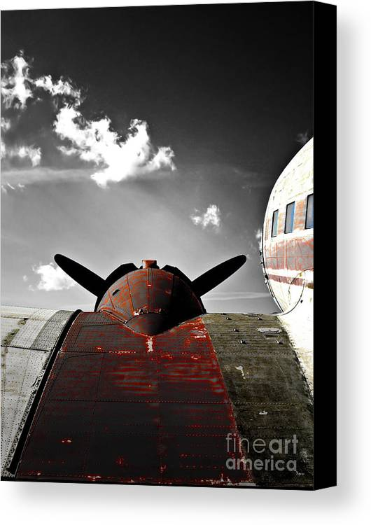 Vintage Airplane Canvas Print featuring the photograph Vintage Dc-3 Aircraft by Steven Digman