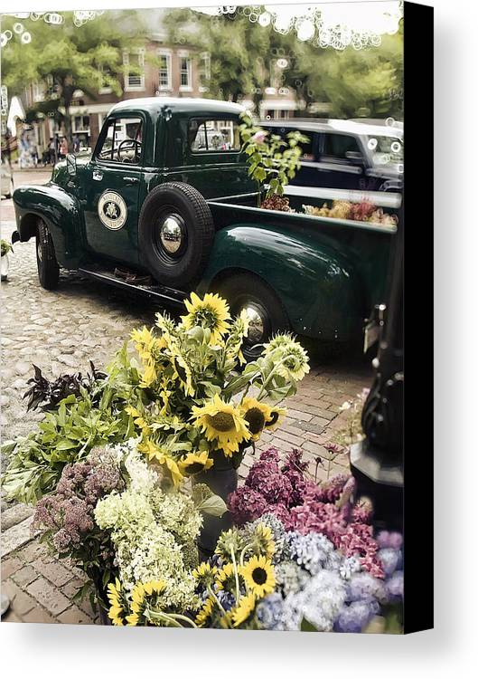 Nantucket Canvas Print featuring the photograph Vintage Flower Truck-nantucket by Tammy Wetzel