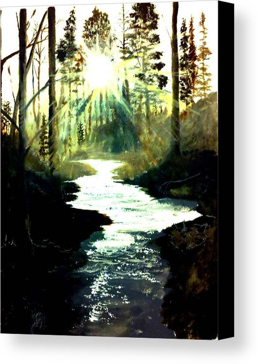 Pictures Canvas Canvas Print featuring the painting Winter Over Almond Creek by Travis Ragan