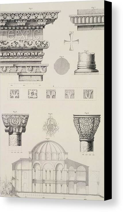 Byzantine; Capitals; Entablature; Decoration; Print; Istanbul; Turkey; Saint; Ss Canvas Print featuring the drawing Cross Section And Architectural Details Of Kutciuk Aja Sophia The Church Of Sergius And Bacchus by D Pulgher