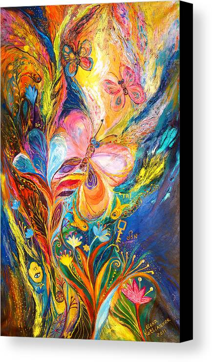 Original Canvas Print featuring the painting The Butterflies by Elena Kotliarker