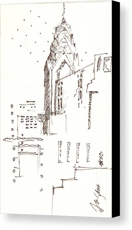 Liberty Place Canvas Print featuring the drawing Liberty Place Philadelphia by Donna Frizano Leonetti