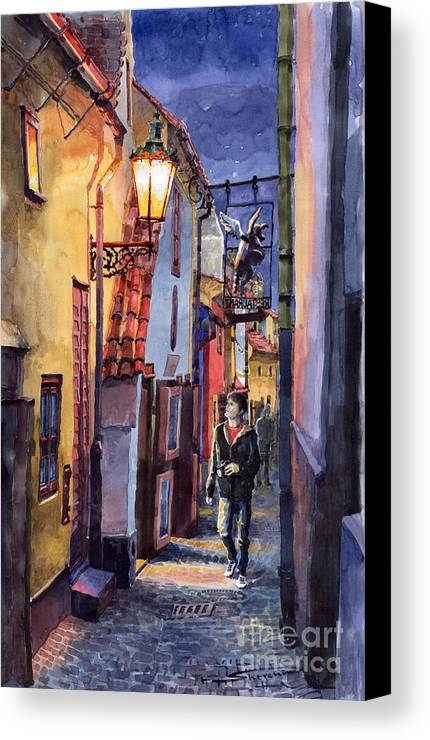 Goldenline Canvas Print featuring the painting Prague Old Street Golden Line by Yuriy Shevchuk