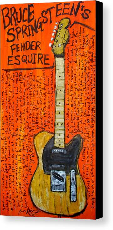 Bruce Springsteen Canvas Print featuring the painting Bruce Springsteen's Fender Esquire by Karl Haglund