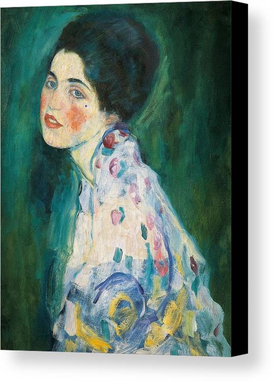 Female Canvas Print featuring the painting Portrait Of A Young Woman by Gustav Klimt