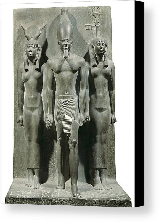 Vertical Canvas Print featuring the photograph Triad Of Menkaure Mycerinus by Everett