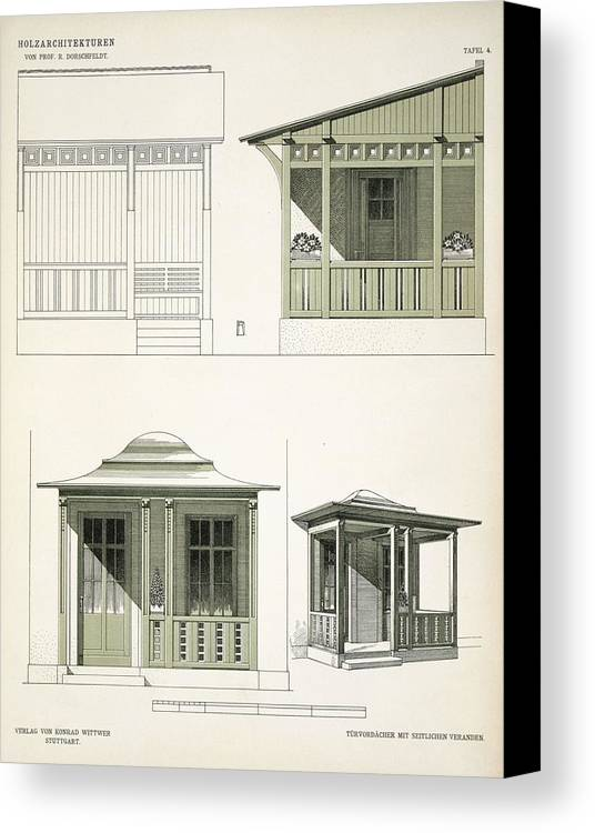 Architecture Canvas Print featuring the drawing Architecture In Wood, C.1900 by Richard Dorschfeldt