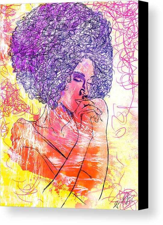 Colored Woman Canvas Print featuring the drawing Colored Woman by Pierre Louis