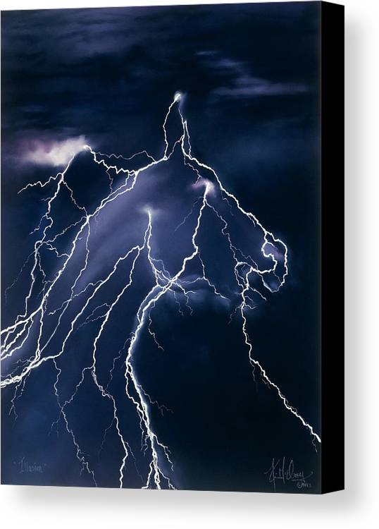 Horse Lightning Canvas Print featuring the pastel Illusion by Kim McElroy