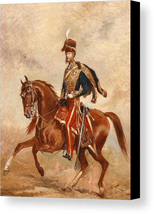 Horse Canvas Print featuring the painting Lieutenant Colonel James Thomas Brudenell by Alfred de Prades