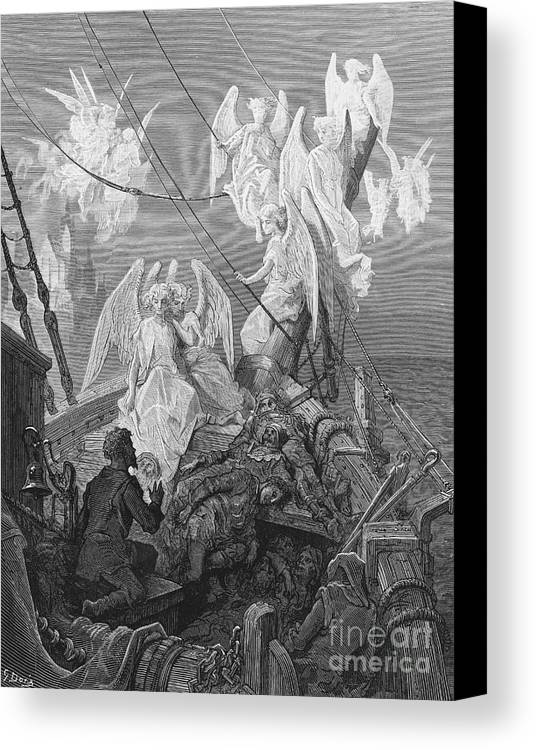 Angels; Ship; Vessel; Sailors; Dore Canvas Print featuring the drawing The Mariner Sees The Band Of Angelic Spirits by Gustave Dore