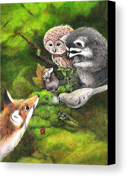 Bunny Canvas Print featuring the drawing Watching Over Sleepy Bunny by Steve Asbell