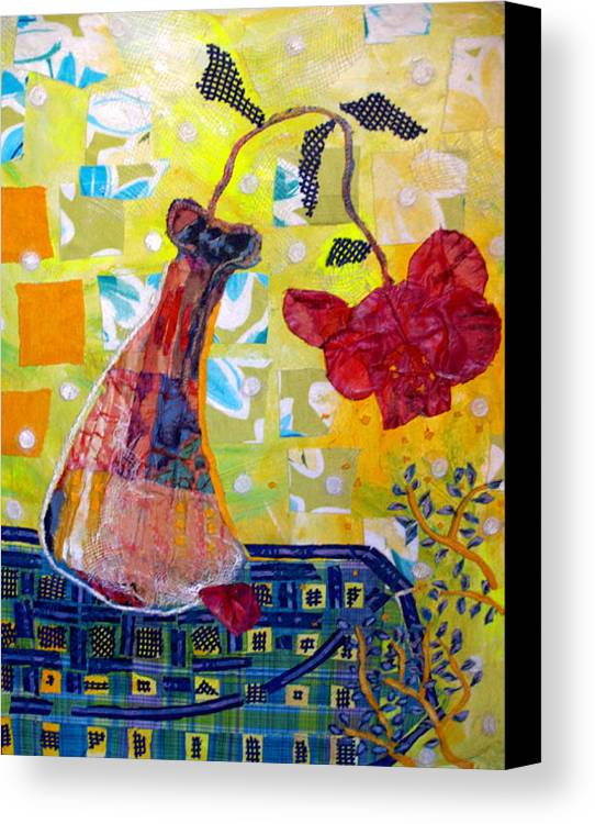 Flower In A Vase Canvas Print featuring the mixed media Wilting Rose by Diane Fine