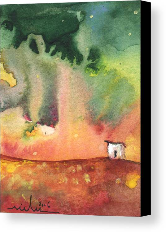 Travel Canvas Print featuring the painting A Little House On Planet Goodaboom by Miki De Goodaboom