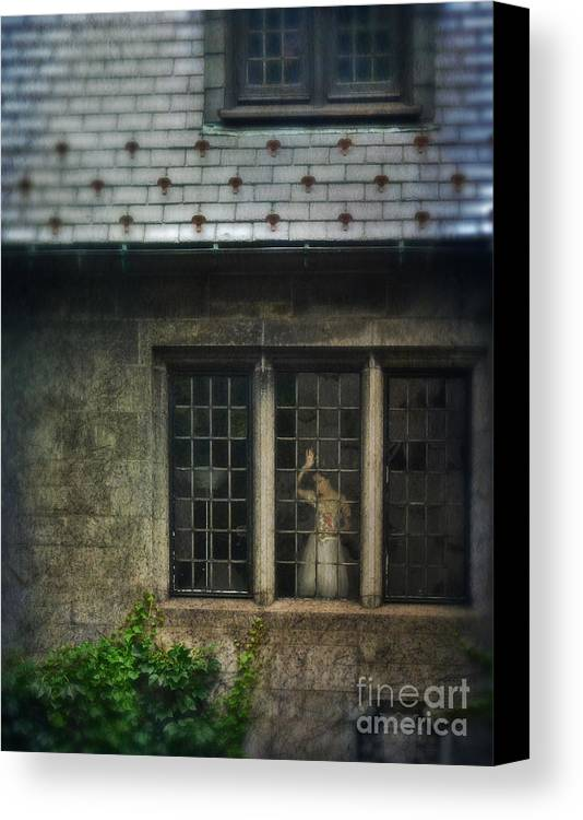 Beautiful Canvas Print featuring the photograph Lady By Window Of Tudor Mansion by Jill Battaglia