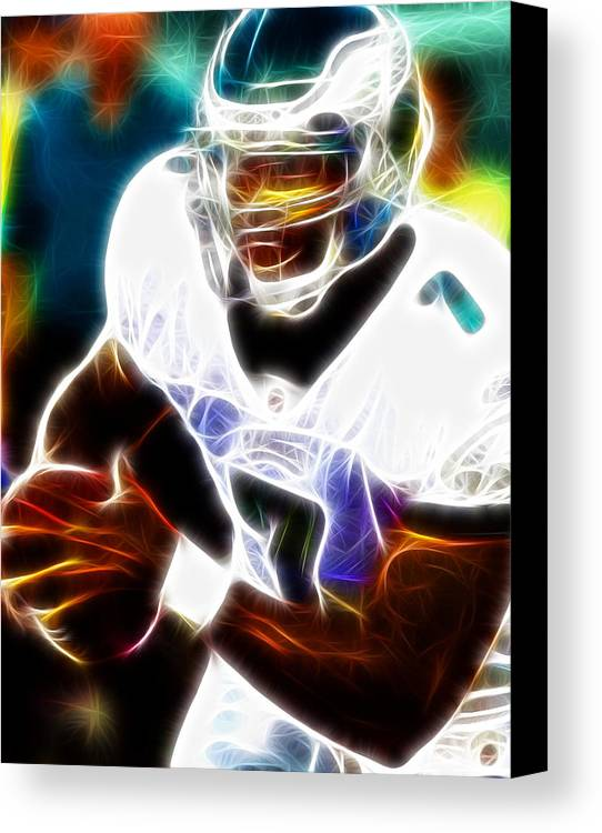 Mike Vick Canvas Print featuring the painting Magical Michael Vick by Paul Van Scott