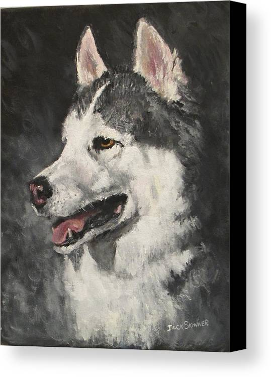 Dog Canvas Print featuring the painting Ozzie by Jack Skinner