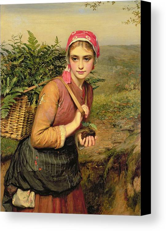 The Fern Gatherer Canvas Print featuring the painting The Fern Gatherer by Charles Sillem Lidderdale