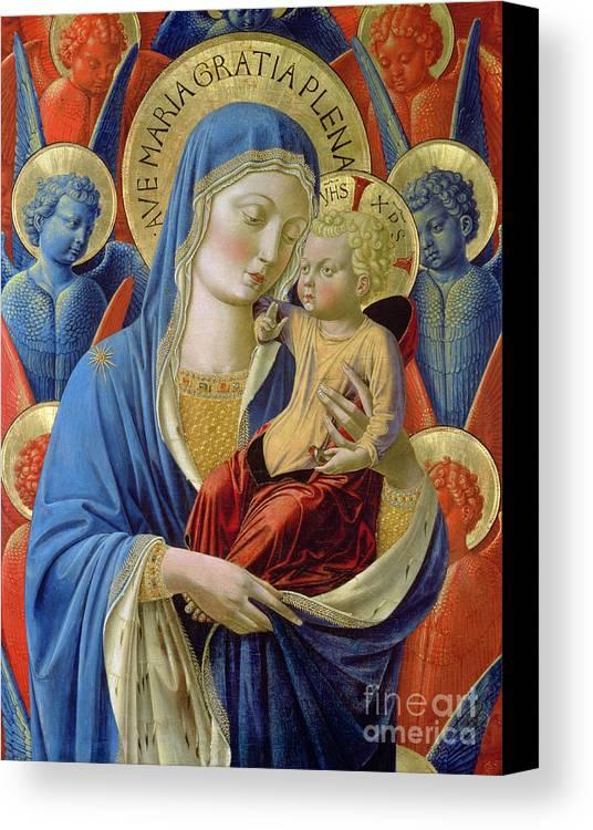 Virgin And Child With Angels Canvas Print featuring the painting Virgin And Child With Angels by Benozzo di Lese di Sandro Gozzoli