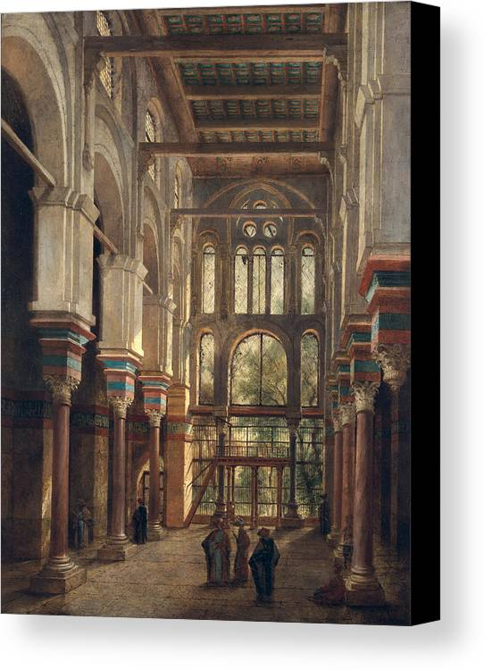Interior Canvas Print featuring the painting Interior Of The Mosque Of El Mooristan In Cairo by Adrien Dauzats