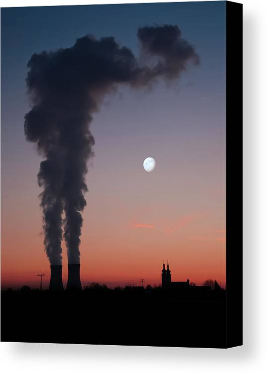 Vertical Canvas Print featuring the photograph Nuclear Power Station In Bavaria by Michael Kohaupt