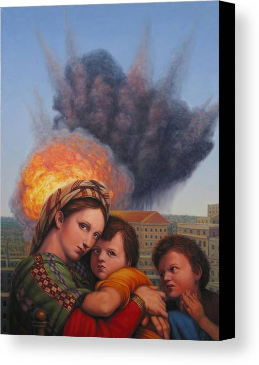 Madonna And Child Canvas Print featuring the painting Raphael Moderne by James W Johnson