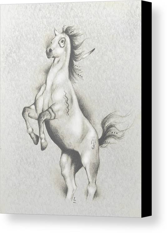 Native American Art Canvas Print featuring the mixed media Spirit Horse by Robert Martinez