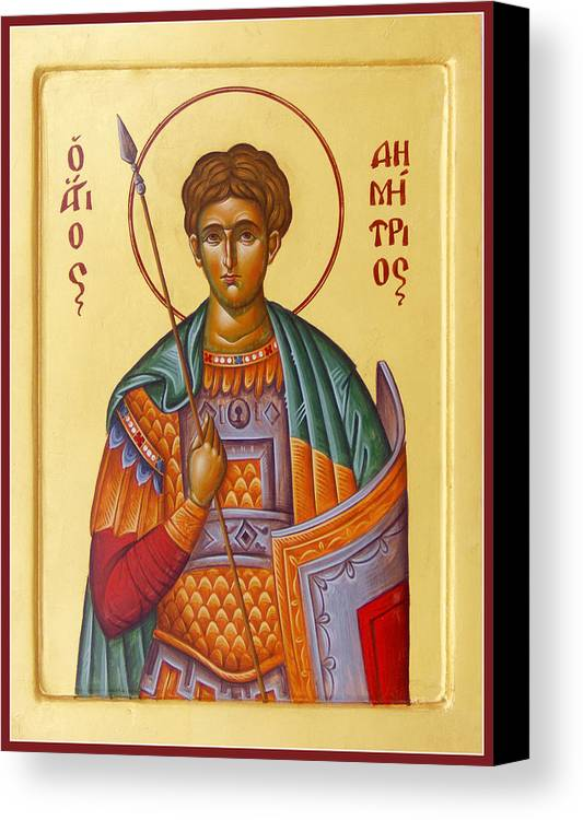 St Demetrios Canvas Print featuring the painting St Demetrios The Great Martyr And Myrrhstreamer by Julia Bridget Hayes