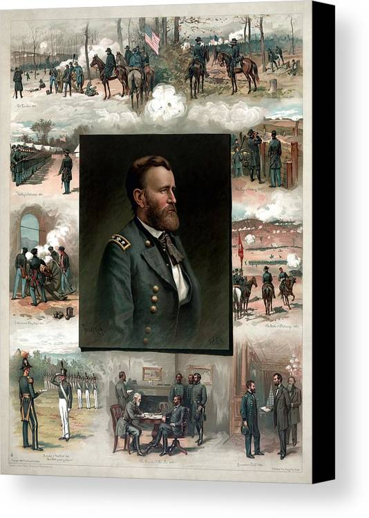 President Grant Canvas Print featuring the painting Us Grant's Career In Pictures by War Is Hell Store