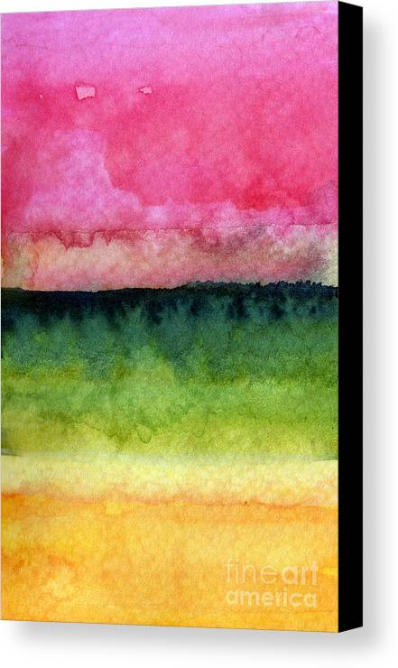 Abstract Landscape Canvas Print featuring the painting Awakened by Linda Woods
