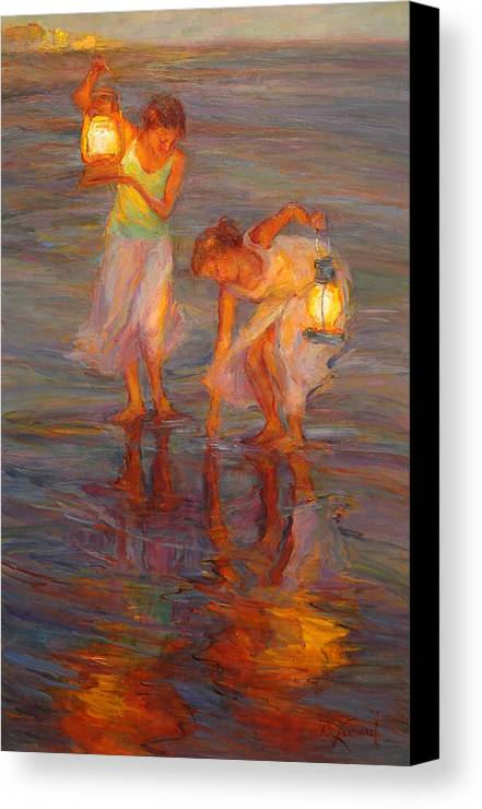 Beach Canvas Print featuring the painting Peace by Diane Leonard