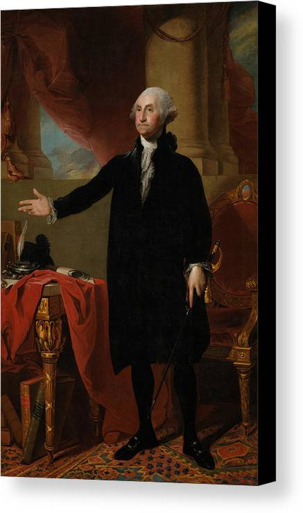 George Washington Canvas Print featuring the painting George Washington Lansdowne Portrait by War Is Hell Store