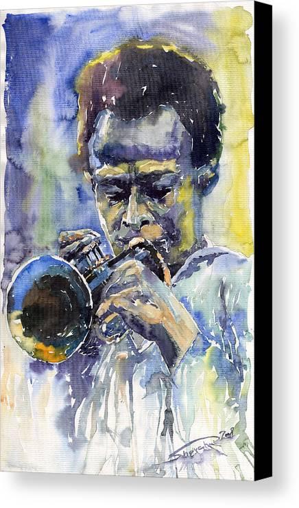 Jazz Canvas Print featuring the painting Jazz Miles Davis 12 by Yuriy Shevchuk