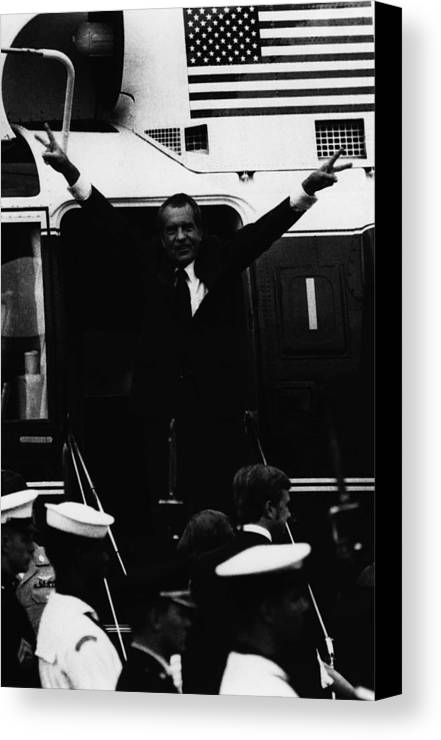 1970s Canvas Print featuring the photograph Nixon Presidency.  Former Us President by Everett
