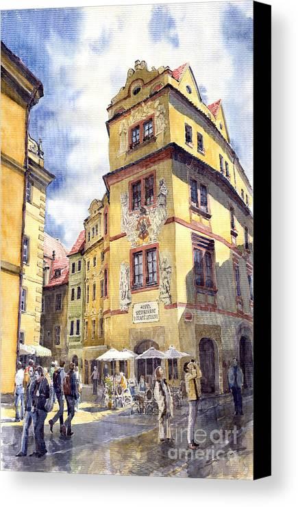 Architecture Canvas Print featuring the painting Prague Karlova Street Hotel U Zlate Studny by Yuriy Shevchuk