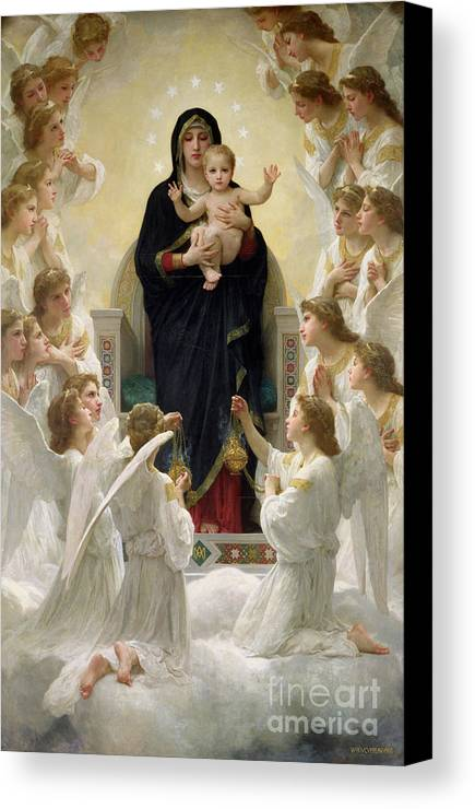The Canvas Print featuring the painting The Virgin With Angels by William-Adolphe Bouguereau