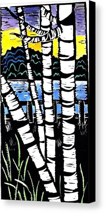 Birch Tree Canvas Print featuring the painting Birch Lake by Jane Croteau