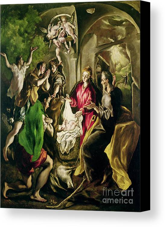 Adoration Des Bergers; Nativity; Birth; Infant Christ; Jesus; Madonna; Virgin Mary; Joseph; Changing; Angels; Stable; Manger Canvas Print featuring the painting Adoration Of The Shepherds by El Greco Domenico Theotocopuli