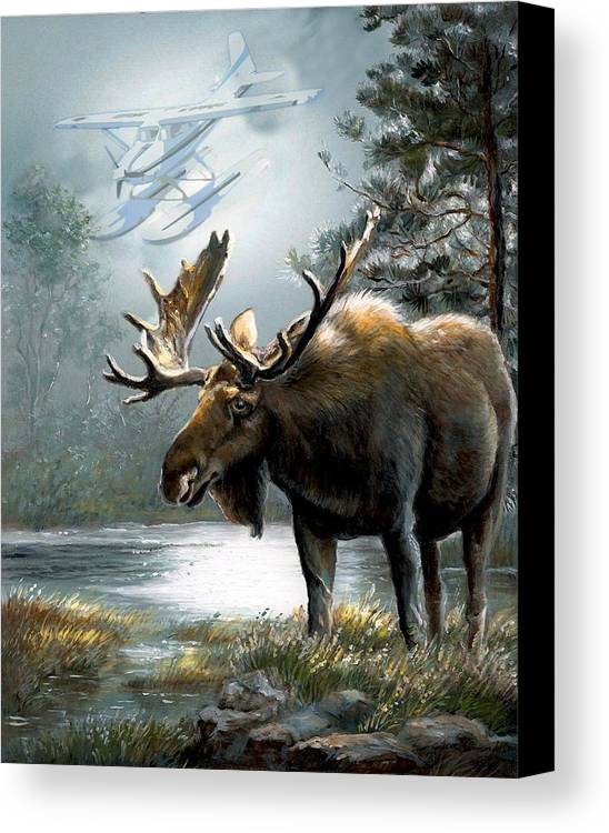 Alaska Moos With Floatplane Animal Art Canvas Print featuring the painting Alaska Moose With Floatplane by Regina Femrite