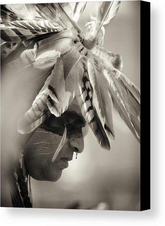 Chippewa Grass Dancer Canvas Print featuring the photograph Chippewa Indian Dancer by Dick Wood