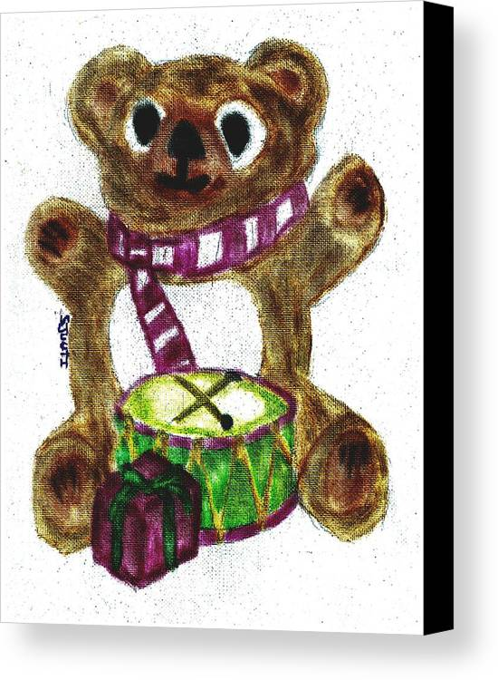 Teddybear Canvas Print featuring the pastel Drummer Teddy by Shaunna Juuti
