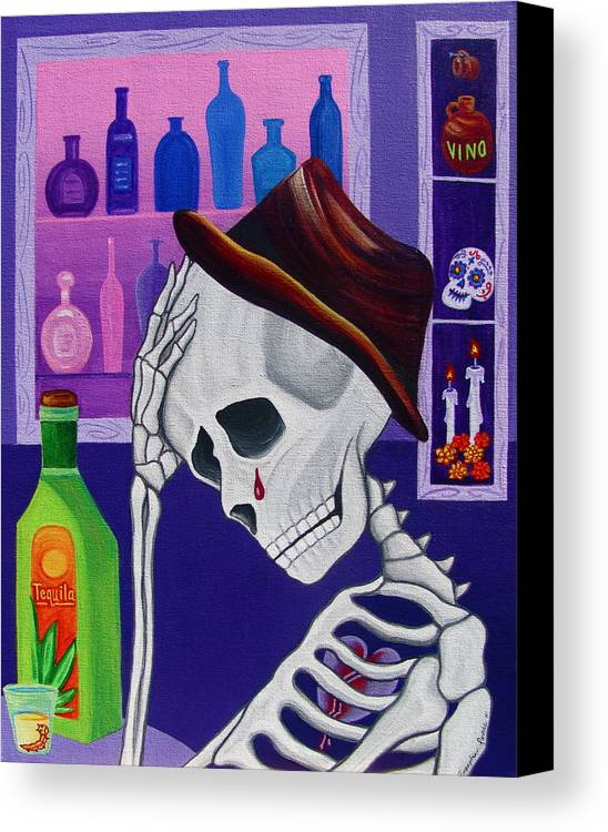 Dia De Los Muertos Canvas Print featuring the painting La Vida No Vale Nada Dos by Evangelina Portillo