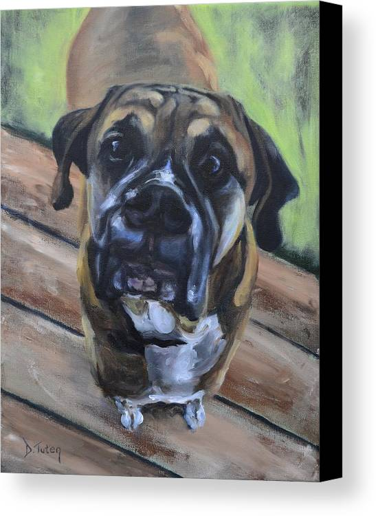 Boxer Canvas Print featuring the painting Lugnut by Donna Tuten