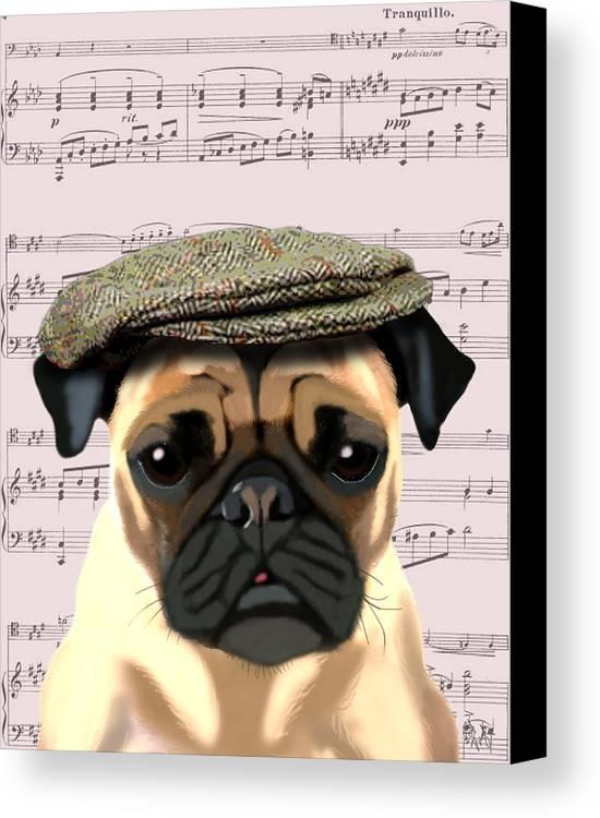 Pug Framed Prints Canvas Print featuring the digital art Pug In A Flat Cap by Kelly McLaughlan