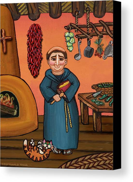 Folk Art Canvas Print featuring the painting San Pascual And Vigas by Victoria De Almeida
